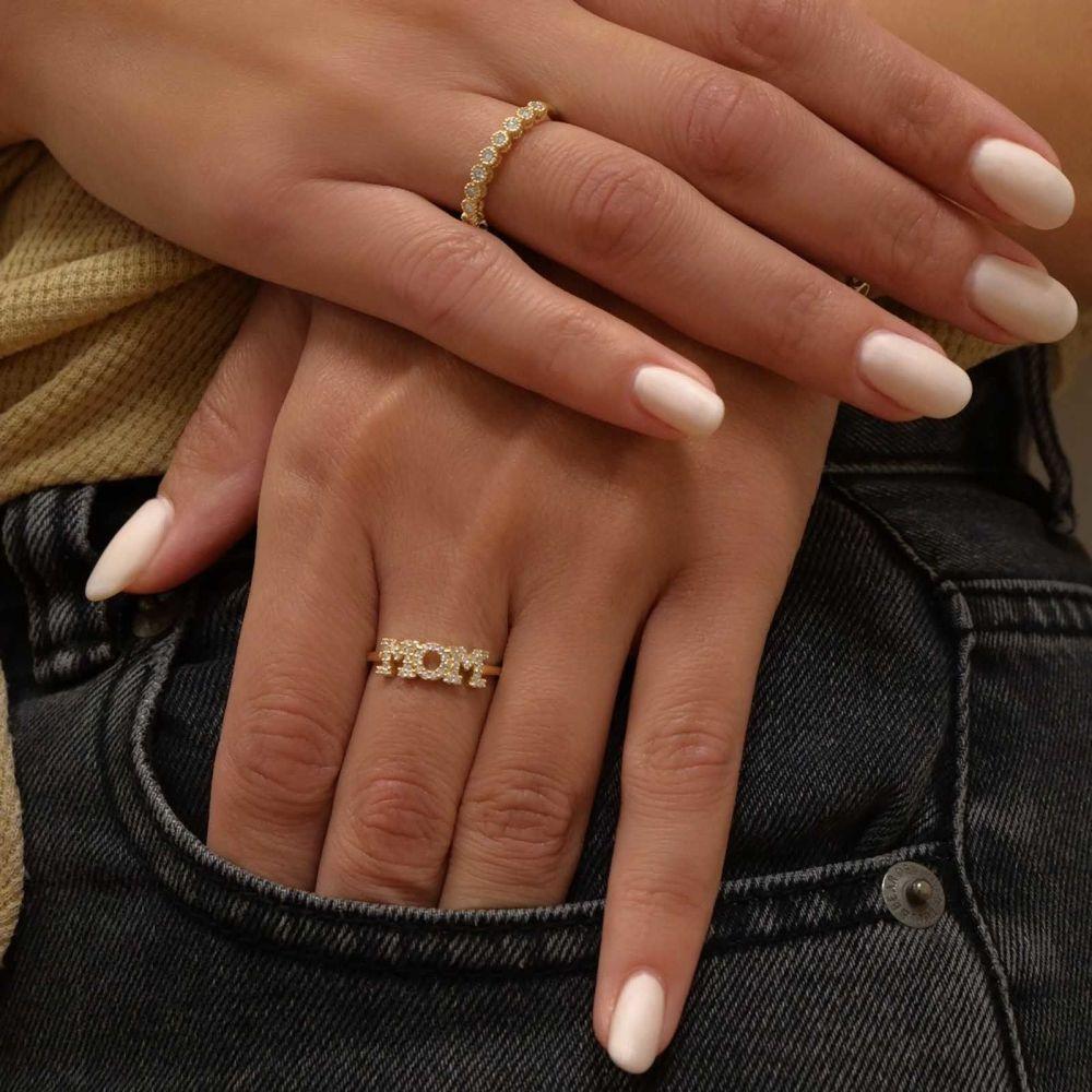 תכשיטי זהב לנשים | טבעת  מזהב צהוב 14 קראט - mom מנצנצת
