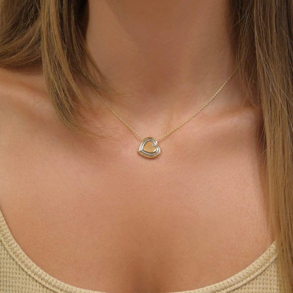 תכשיטי זהב לנשים | שרשרת ותליון מזהב צהוב ולבן 14 קראט - לב מירנדה