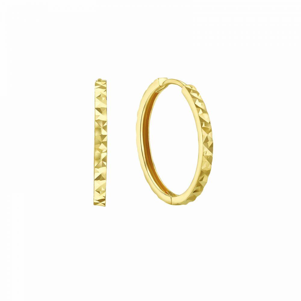 עגילי זהב   עגילי חישוק  מזהב צהוב 14 קראט - חישוק חריטת יהלום
