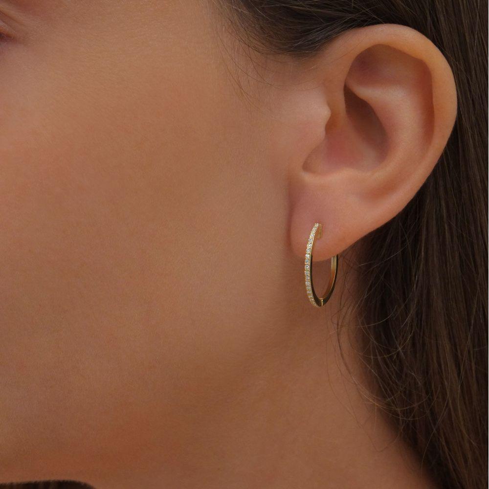 תכשיטי יהלומים | עגילי חישוק יהלומים מזהב צהוב 14 קראט - ליידי L