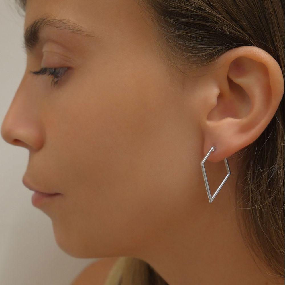 תכשיטי זהב לנשים | עגילים תלויים מזהב לבן 14 קראט - ברזיל