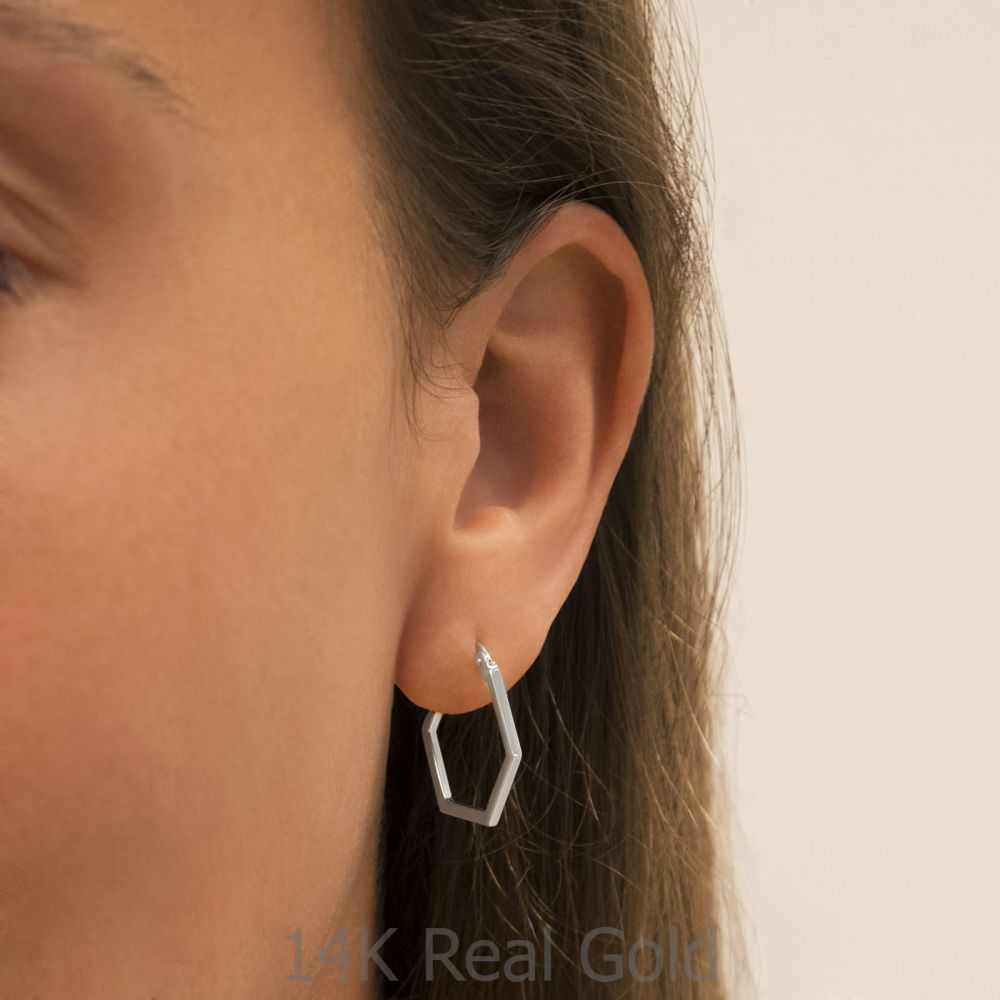 תכשיטי זהב לנשים | עגילים תלויים מזהב לבן 14 קראט - ברצלונה