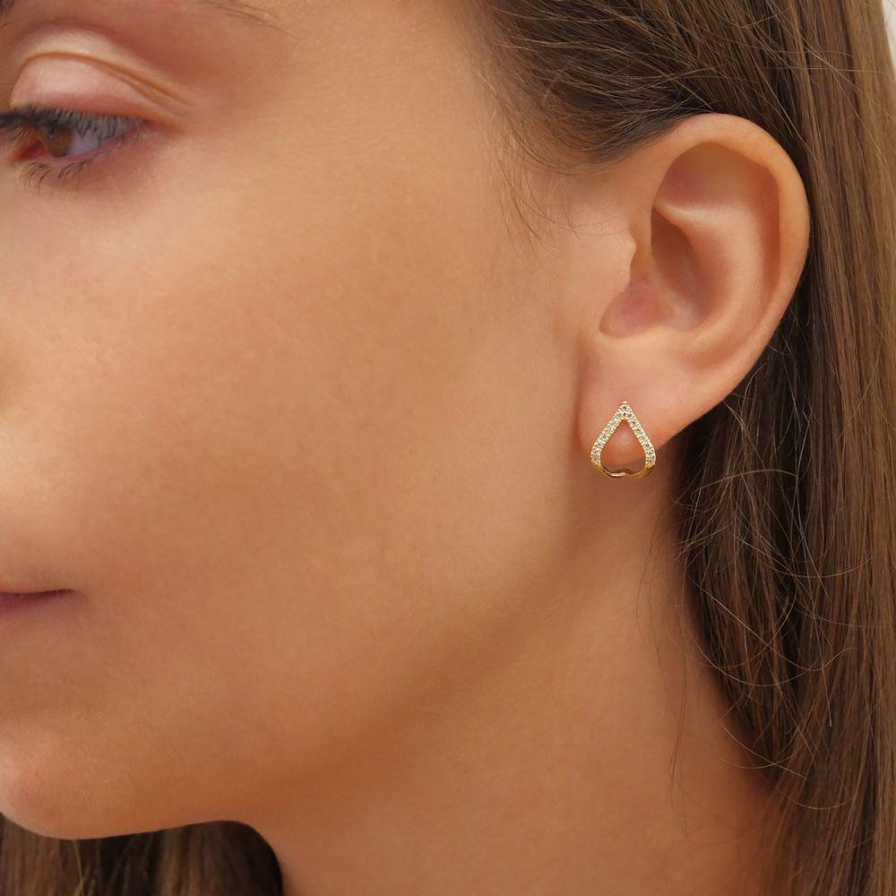 תכשיטי זהב לנשים | עגילי יהלומים חובקים מזהב צהוב 14 קראט - לגונה מנצנצת