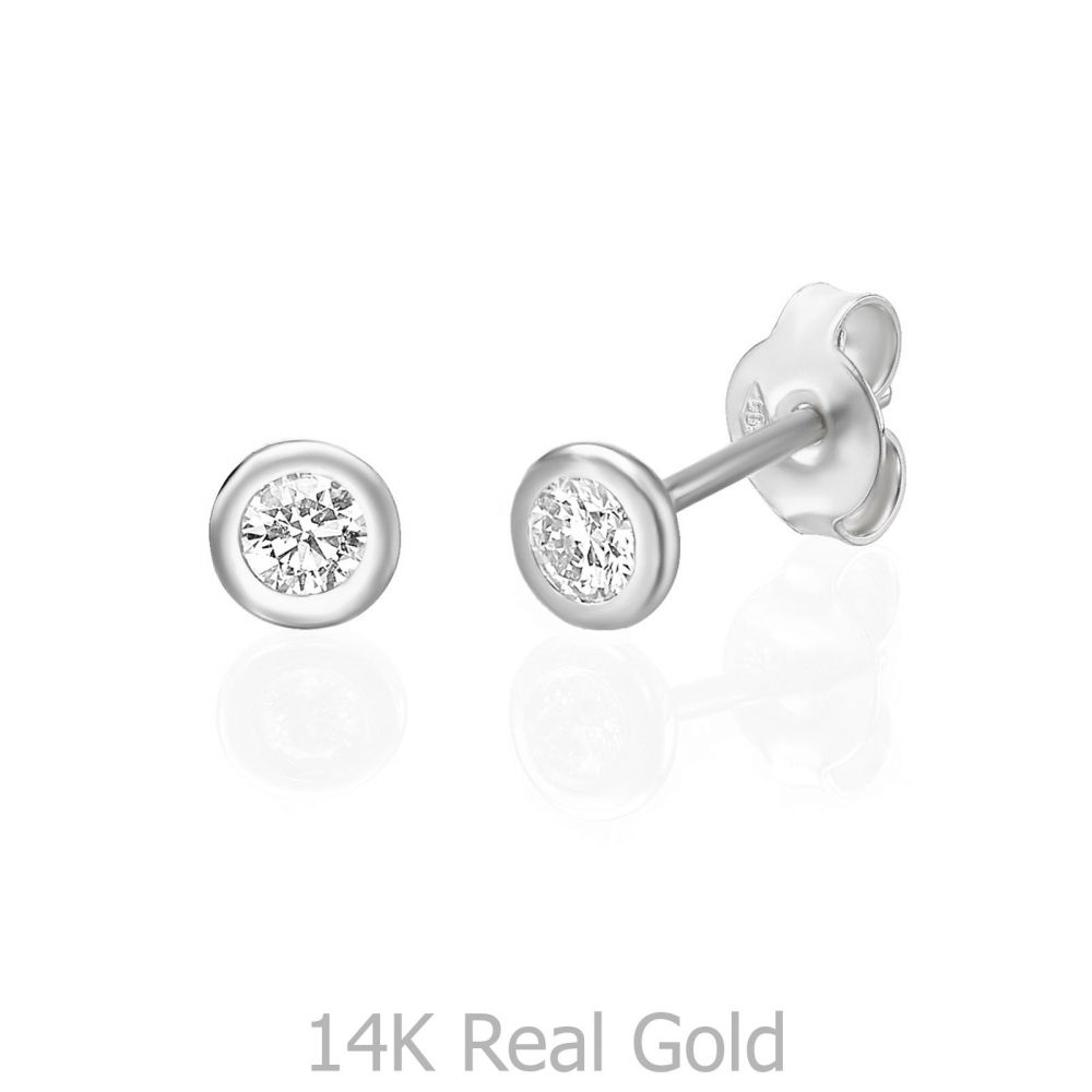 תכשיטי יהלומים | עגילי יהלום צמודים מזהב לבן 14 קראט - קלואי M