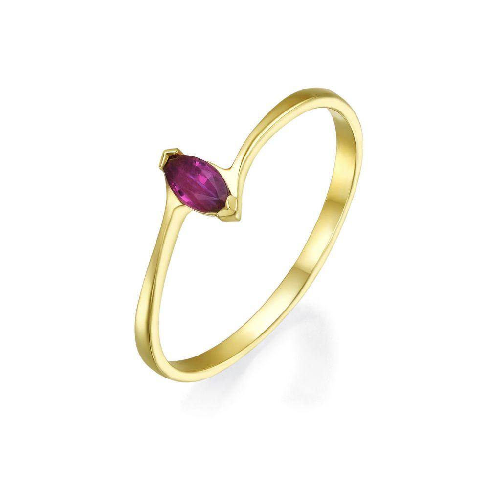 טבעות זהב   טבעת רובי מזהב צהוב 14 קראט  - נובה