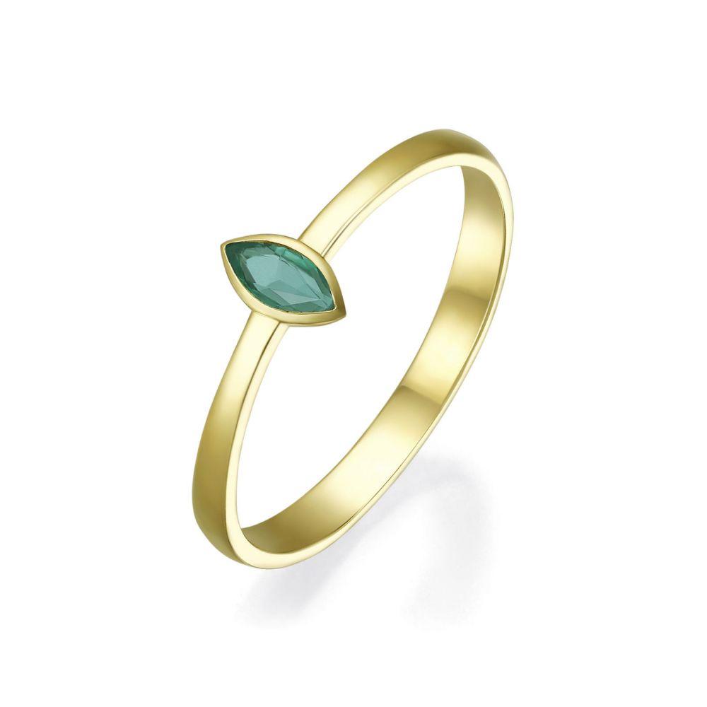 תכשיטי יהלומים | טבעת אמרלד מזהב צהוב 14 קראט  - ולנסיה