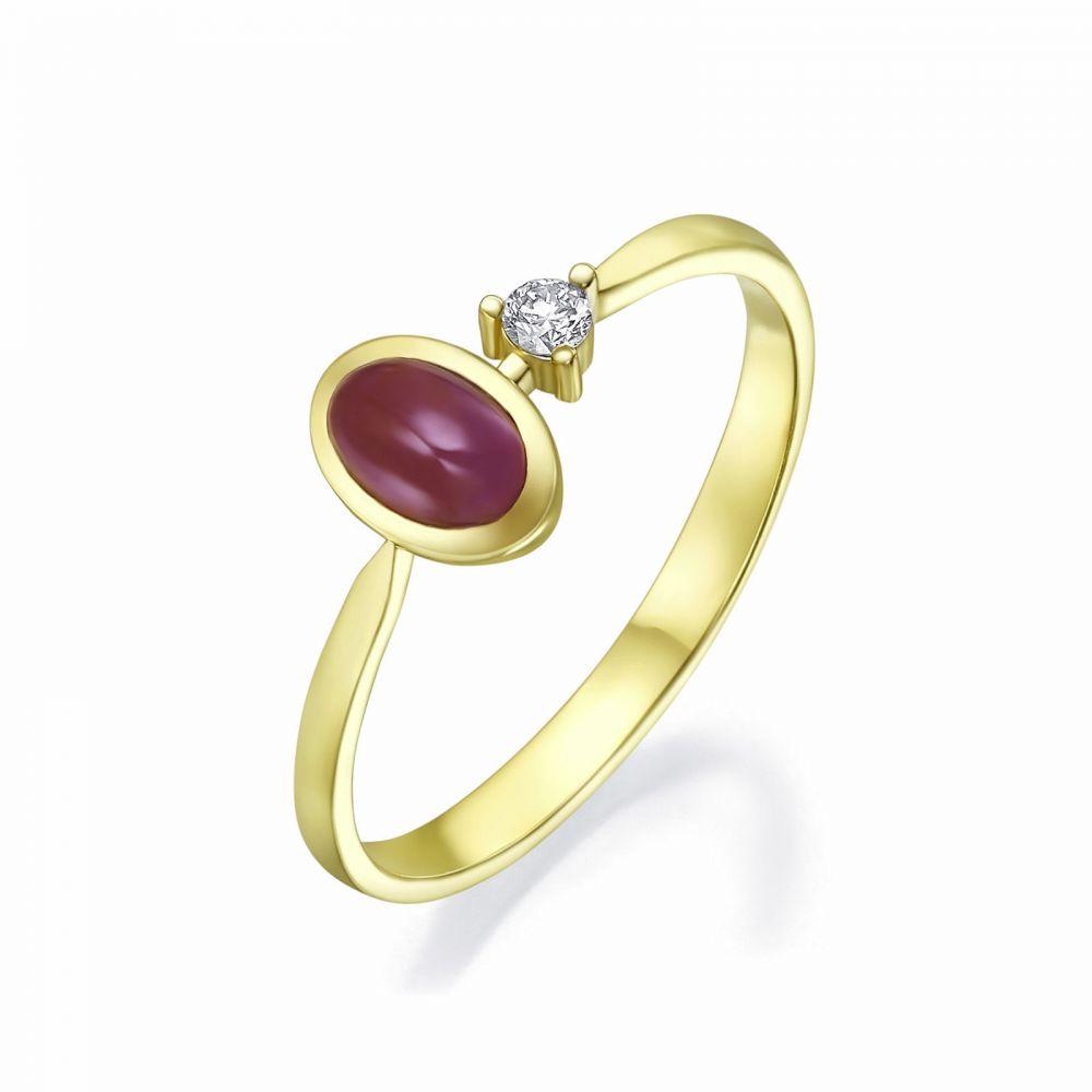 תכשיטי זהב לנשים | טבעת  יהלום ואבן חן רובי מזהב צהוב 14 - ג'יימי