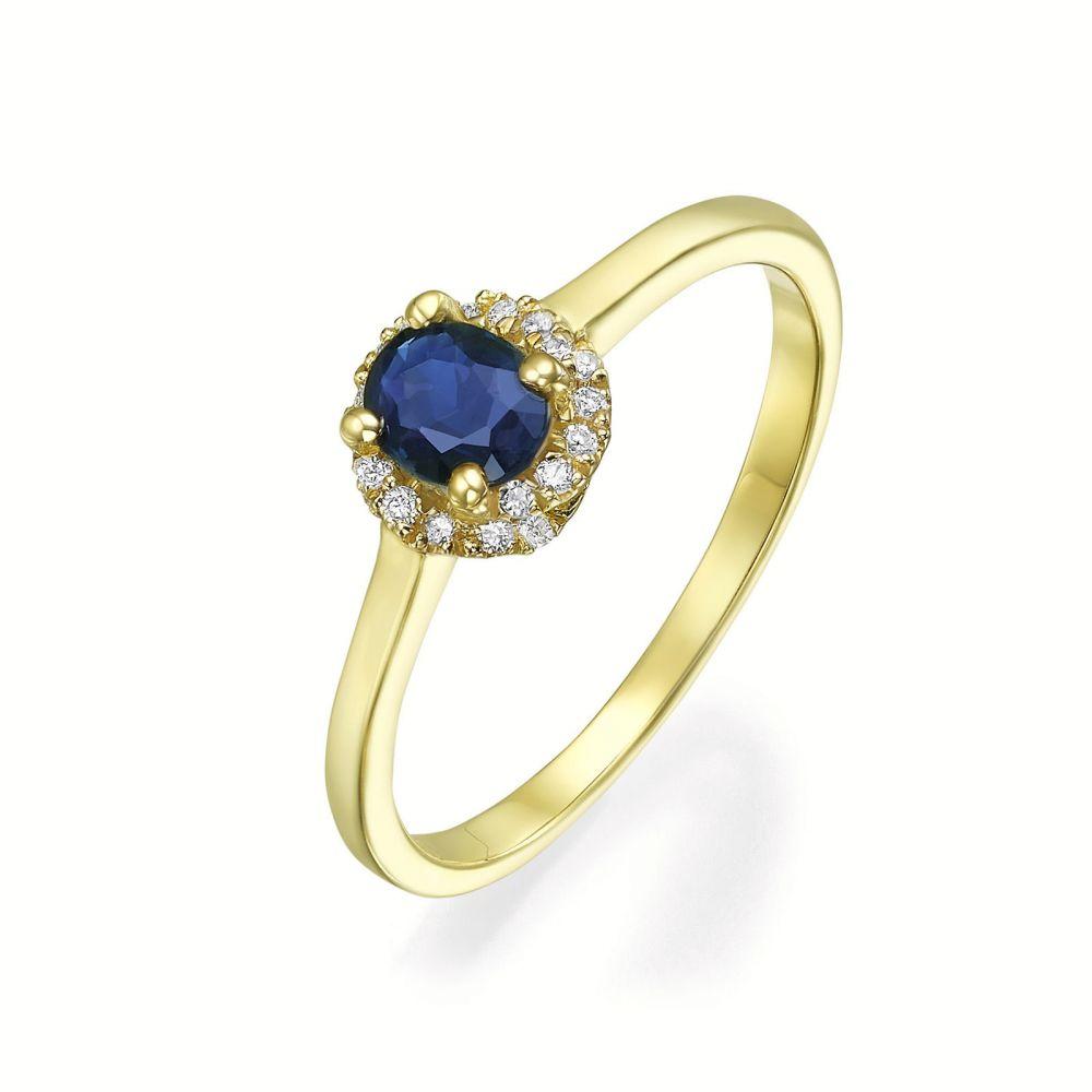 טבעות זהב   טבעת יהלומים ואבן חן ספיר מזהב צהוב 14 קראט  - רויאל