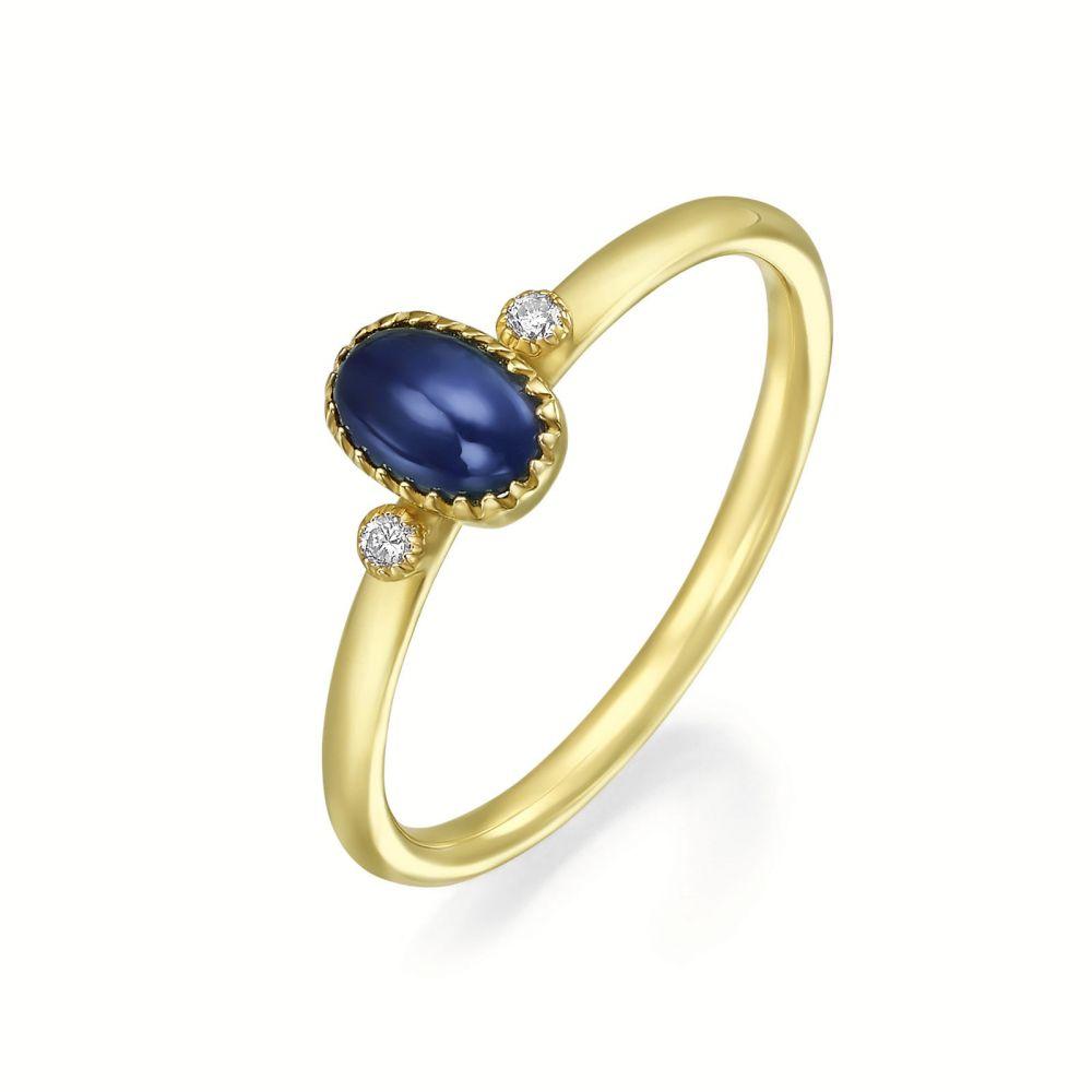 טבעות זהב | טבעת יהלומים ואבן חן ספיר מזהב צהוב 14 קראט  - ליברטי