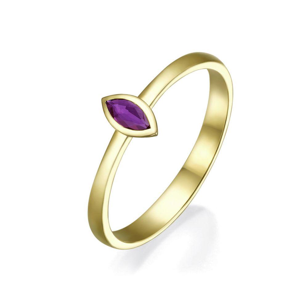 טבעות זהב | טבעת רובי מזהב צהוב 14 קראט - סול