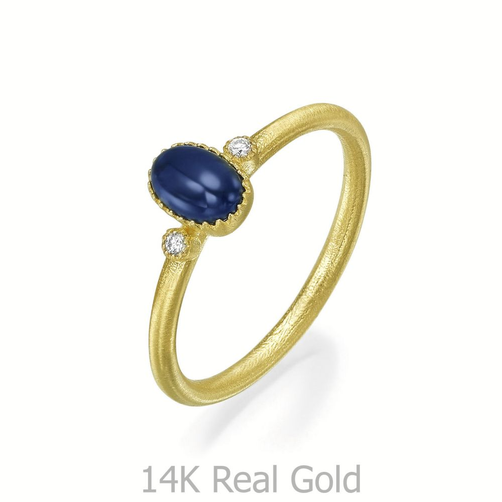 טבעות זהב   טבעת יהלומים ואבן חן ספיר מזהב צהוב 14 קראט  - ליברטי מט