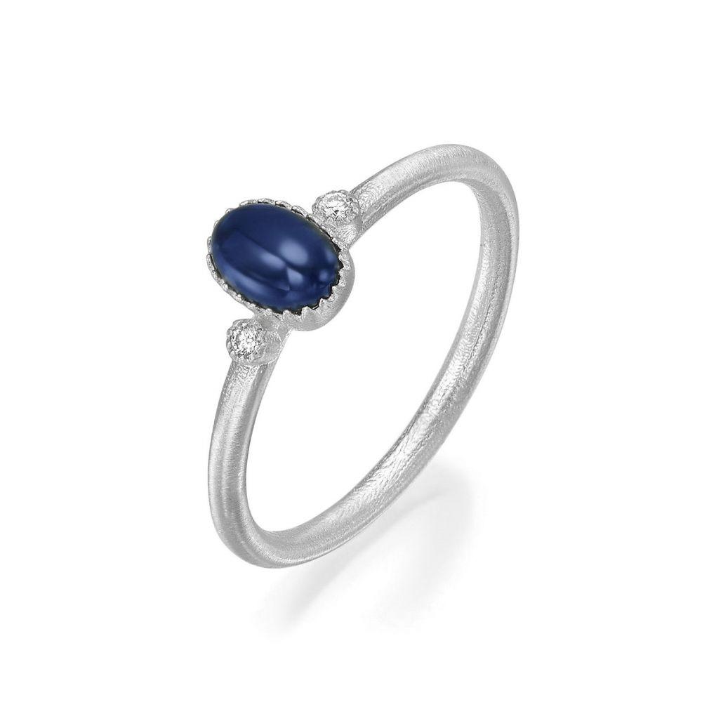 טבעות זהב   טבעת יהלומים ואבן חן ספיר מזהב לבן 14 קראט  - ליברטי מט