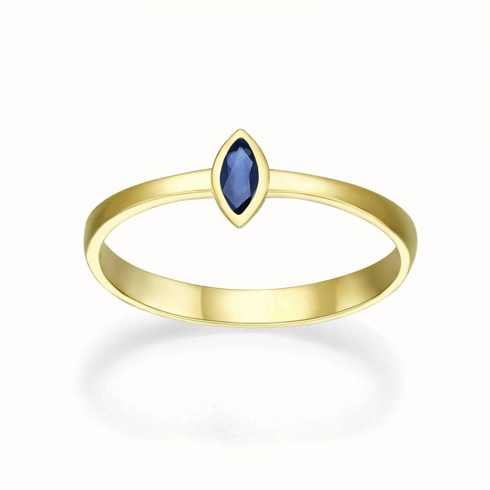 טבעות זהב | טבעת ספיר מזהב צהוב 14 קראט  - ברי