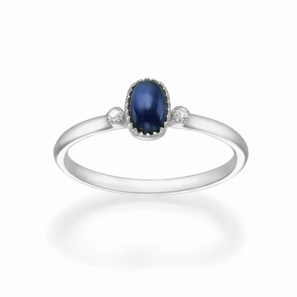 טבעות זהב | טבעת יהלומים ואבן חן ספיר מזהב לבן 14 קראט  - ליברטי