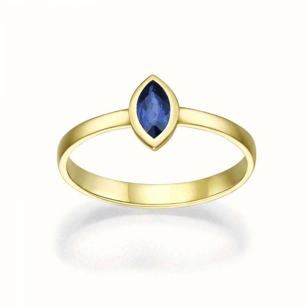 טבעות זהב | טבעת ספיר מזהב צהוב 14 קראט  - ריס