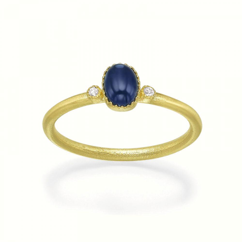 טבעות זהב | טבעת יהלומים ואבן חן ספיר מזהב צהוב 14 קראט  - ליברטי מט