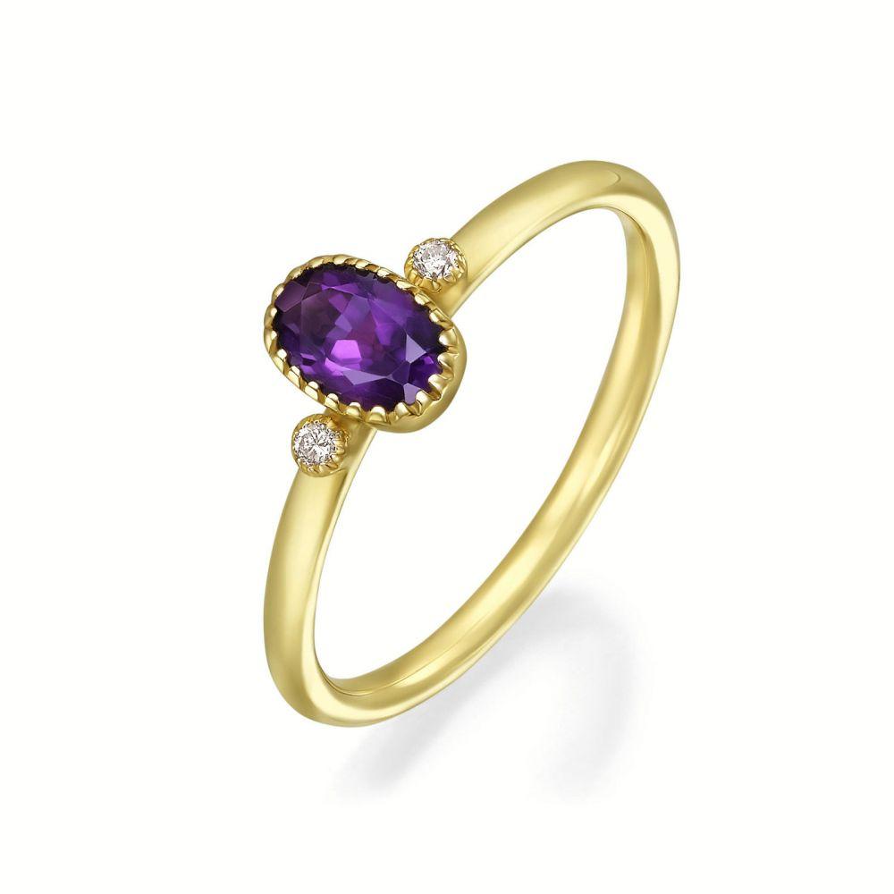 טבעות זהב | טבעת יהלומים ואבן חן אמטיסט מזהב צהוב 14 קראט  - סאנסה