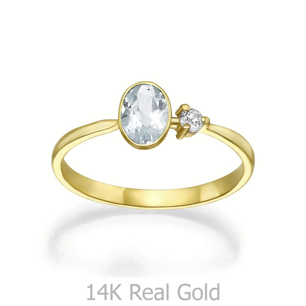 תכשיטי יהלומים | טבעת  יהלום ואבן חן אקוומרין מזהב צהוב 14 - ריין