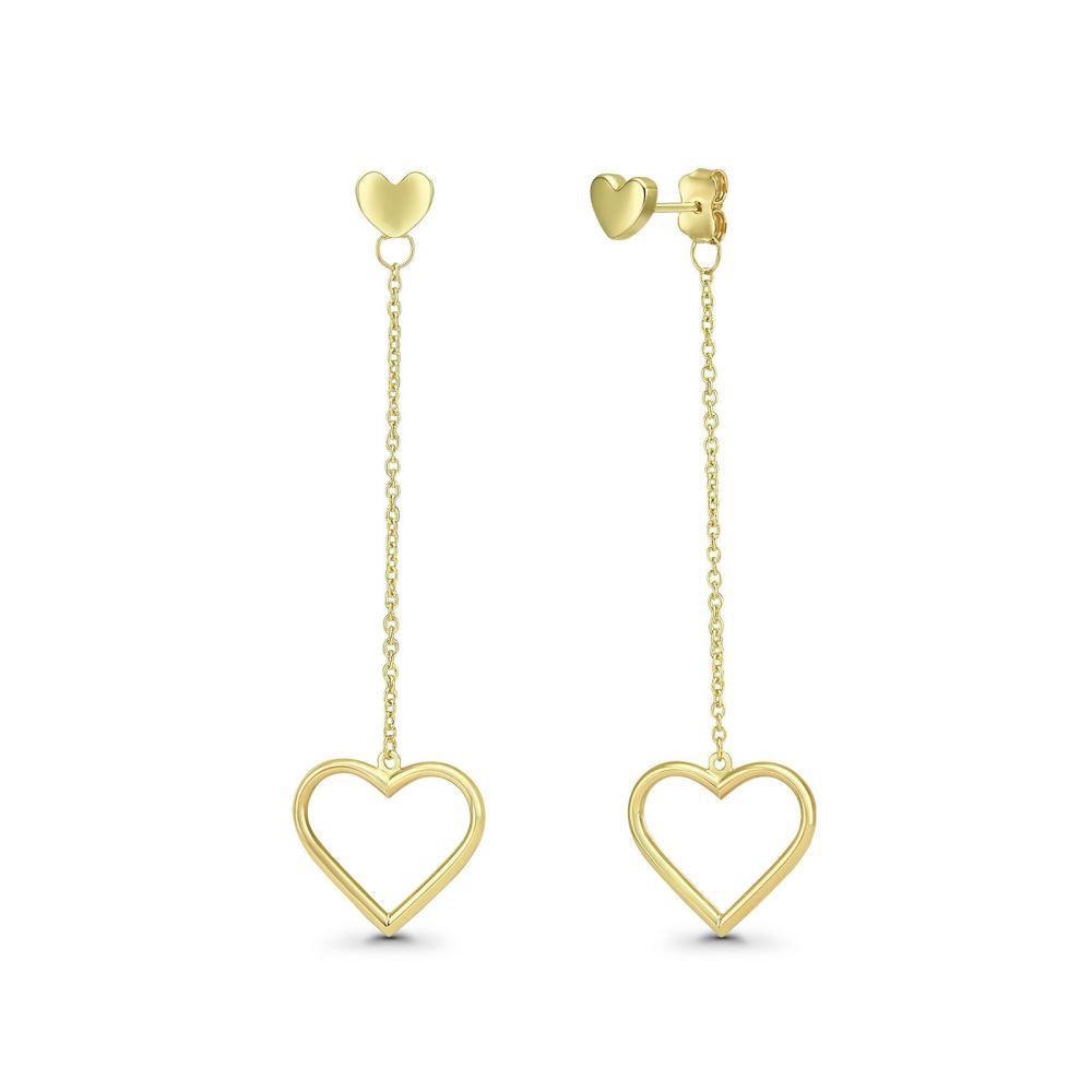 עגילי זהב | עגילים תלויים מזהב צהוב 14 קראט - לבבות תלויים