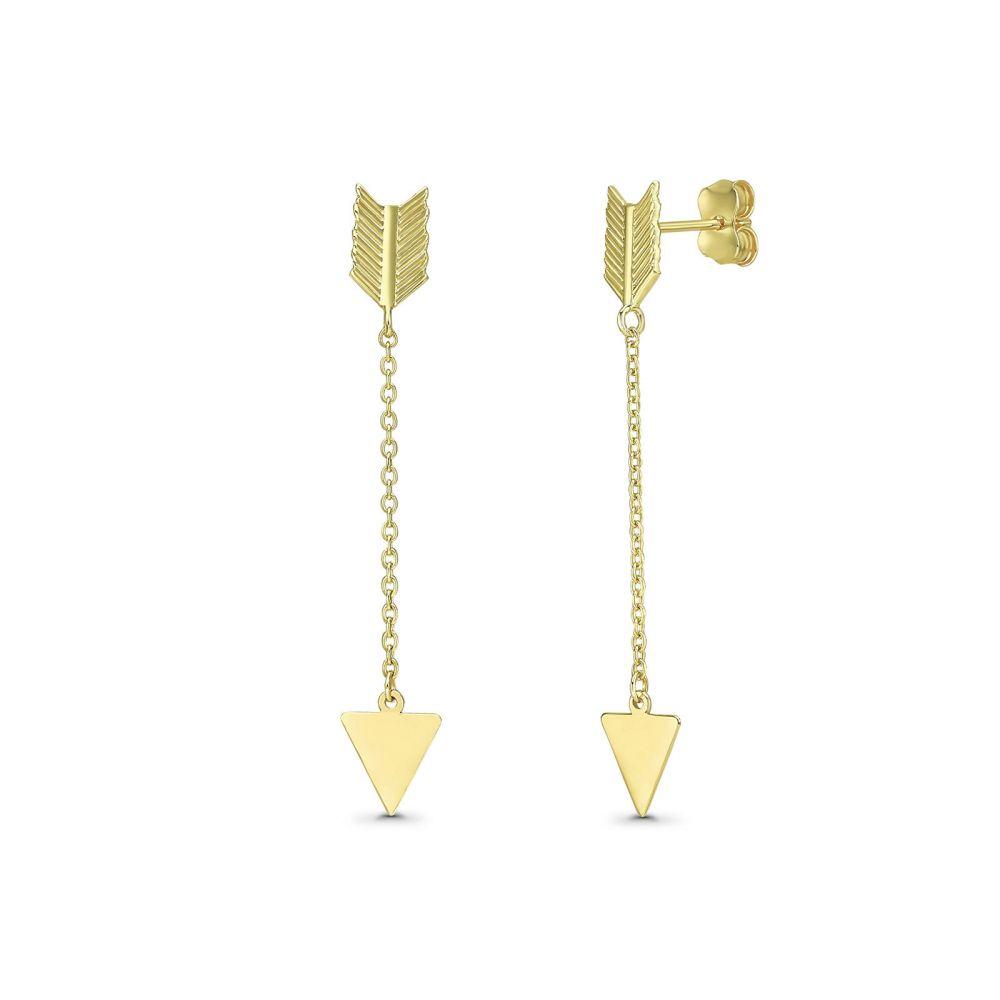 עגילי זהב | עגילים תלויים מזהב צהוב 14 קראט - חץ קופידון
