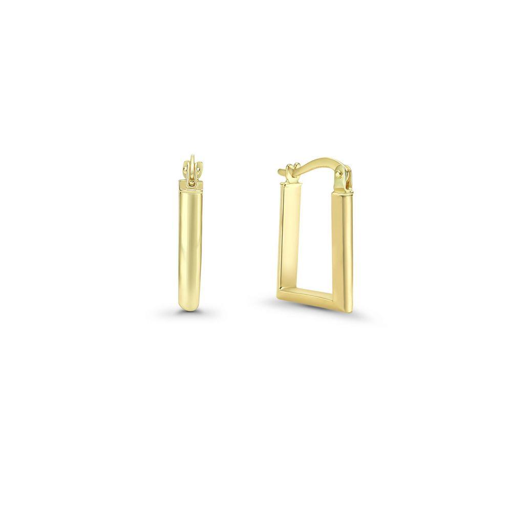 עגילי זהב | עגילי חישוק מזהב צהוב 14 קראט - ריבועי ניו יורק