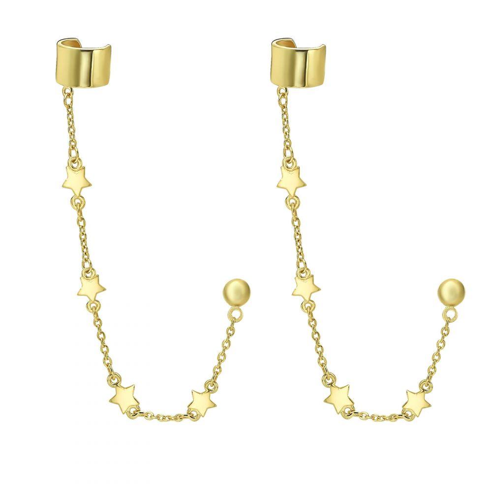עגילי זהב | עגילים צמודים עם הליקס חובק מזהב צהוב 14 קראט - כוכבים נופלים
