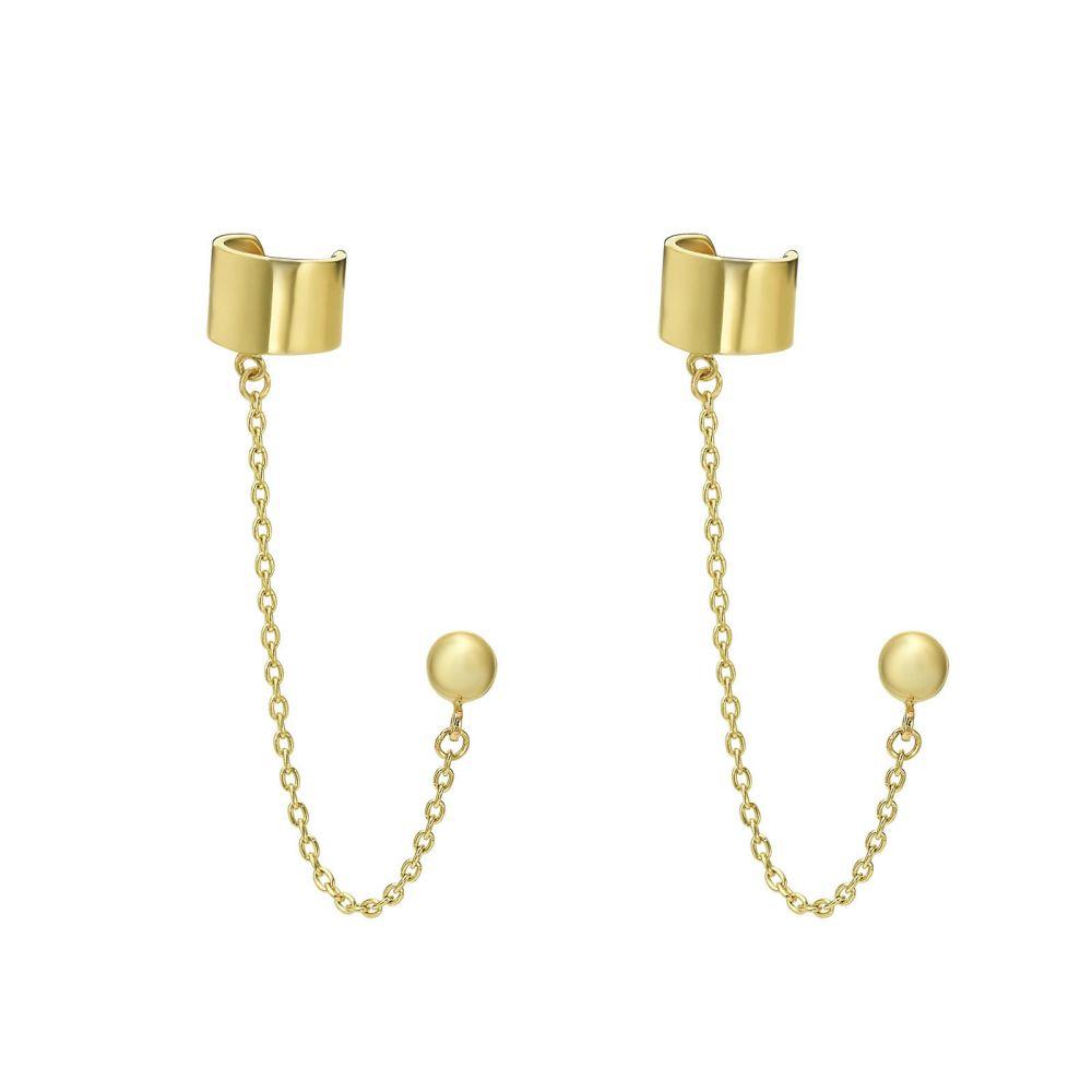עגילי זהב | עגילים צמודים מזהב צהוב 14 קראט -  הליקס מטפס