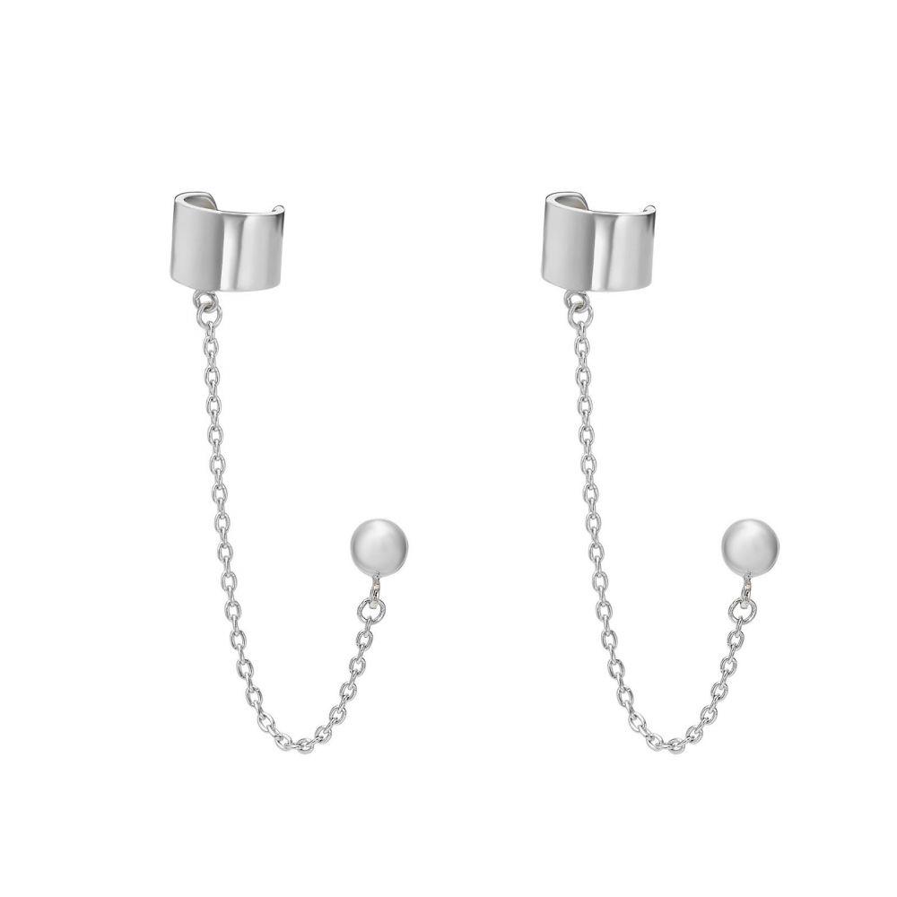 עגילי זהב | עגילים צמודים מזהב לבן 14 קראט -  הליקס מטפס