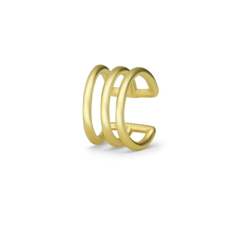 עגילי זהב | עגיל הליקס מזהב צהוב 14 קראט - הליקס שורות