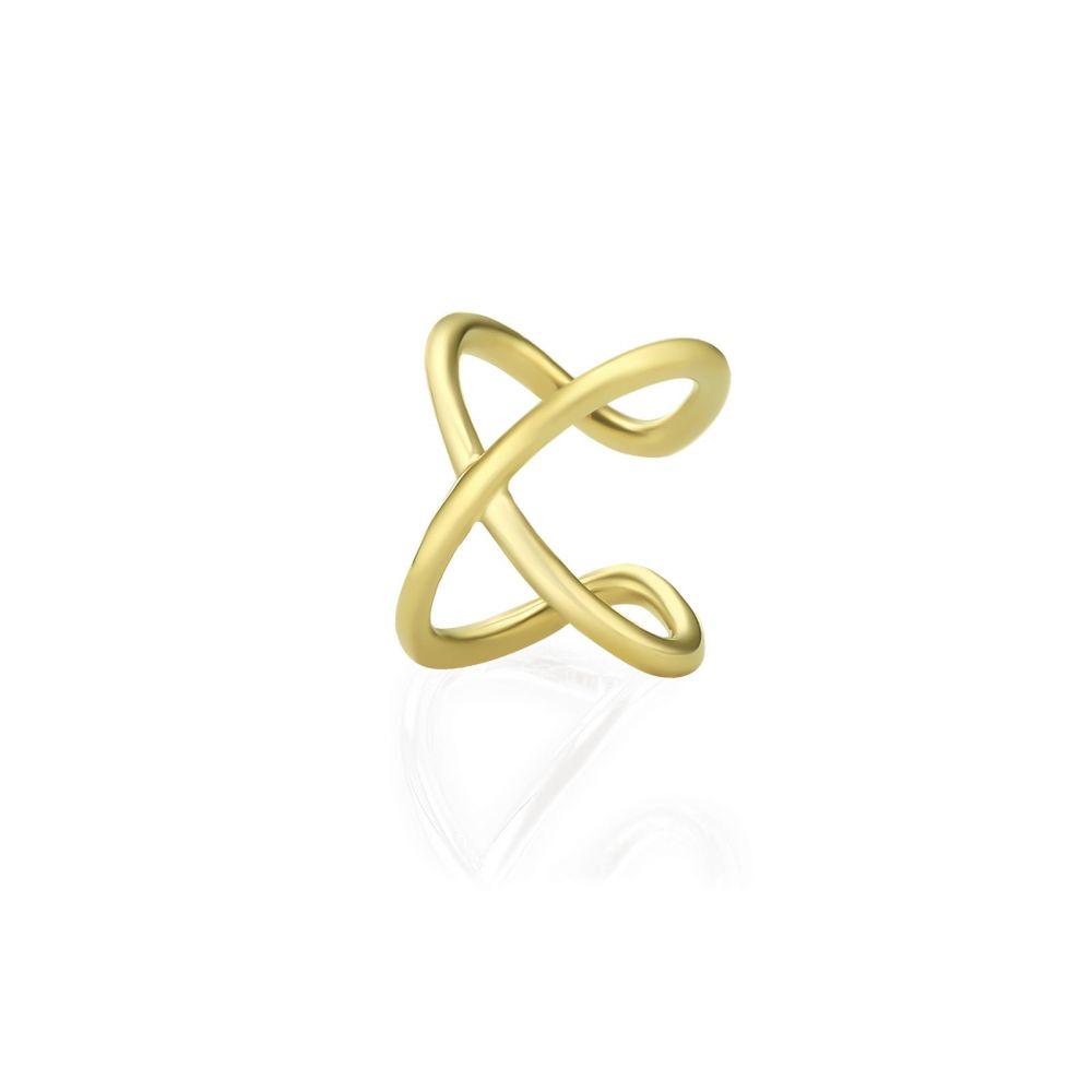 עגילי זהב | עגיל הליקס מזהב צהוב 14 קראט - הליקס איקס