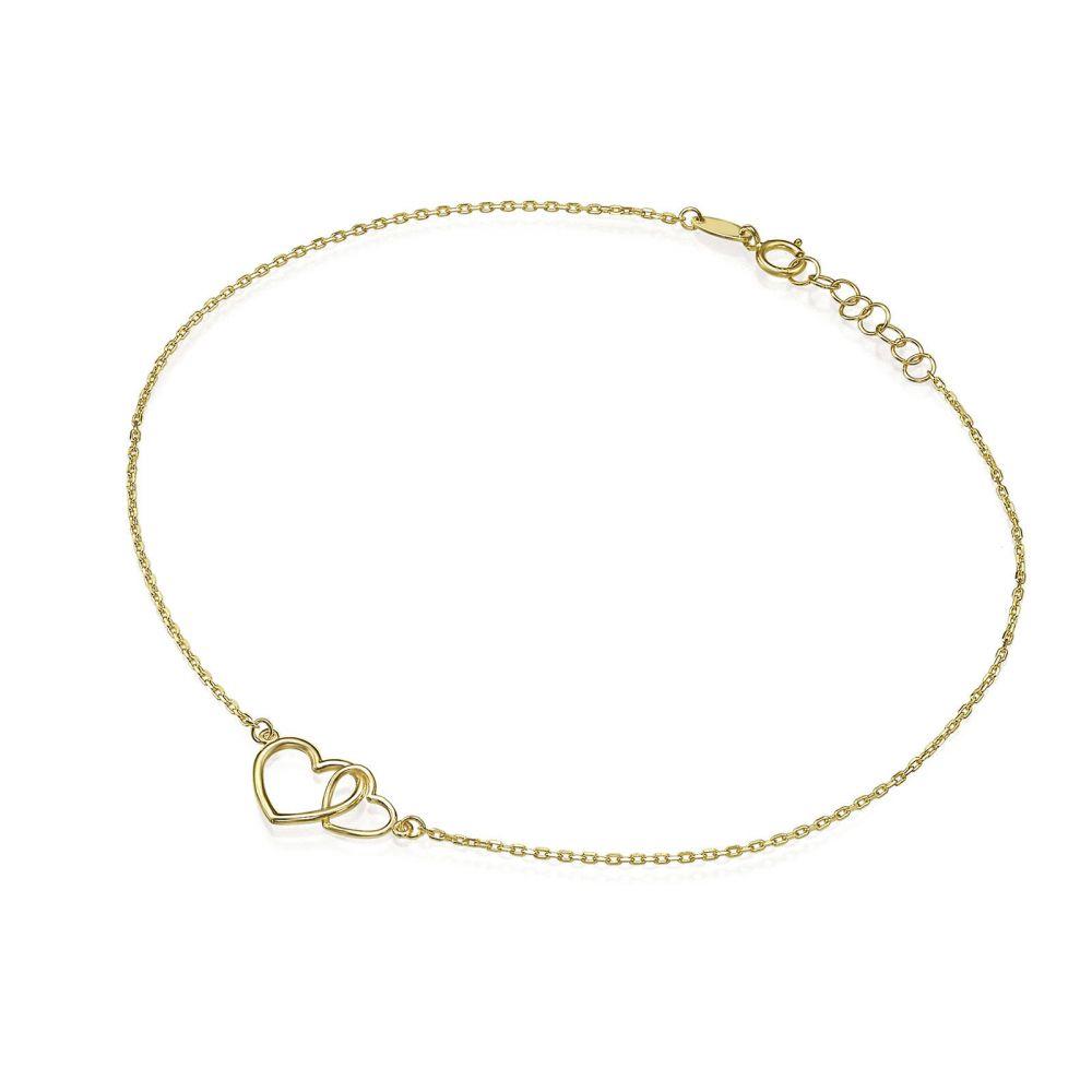 תכשיטי זהב לנשים   צמיד לרגל מזהב צהוב 14 קראט - לבבות מאוחדים