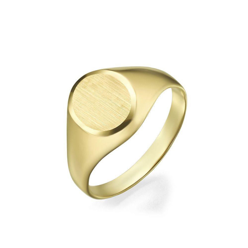 תכשיטי זהב לנשים | טבעת חותם מזהב צהוב 14 קראט - חותם עיגולי מט