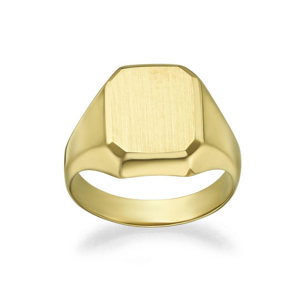 תכשיטי זהב לנשים   טבעת חותם מזהב צהוב 14 קראט - חותם ריבועי מט