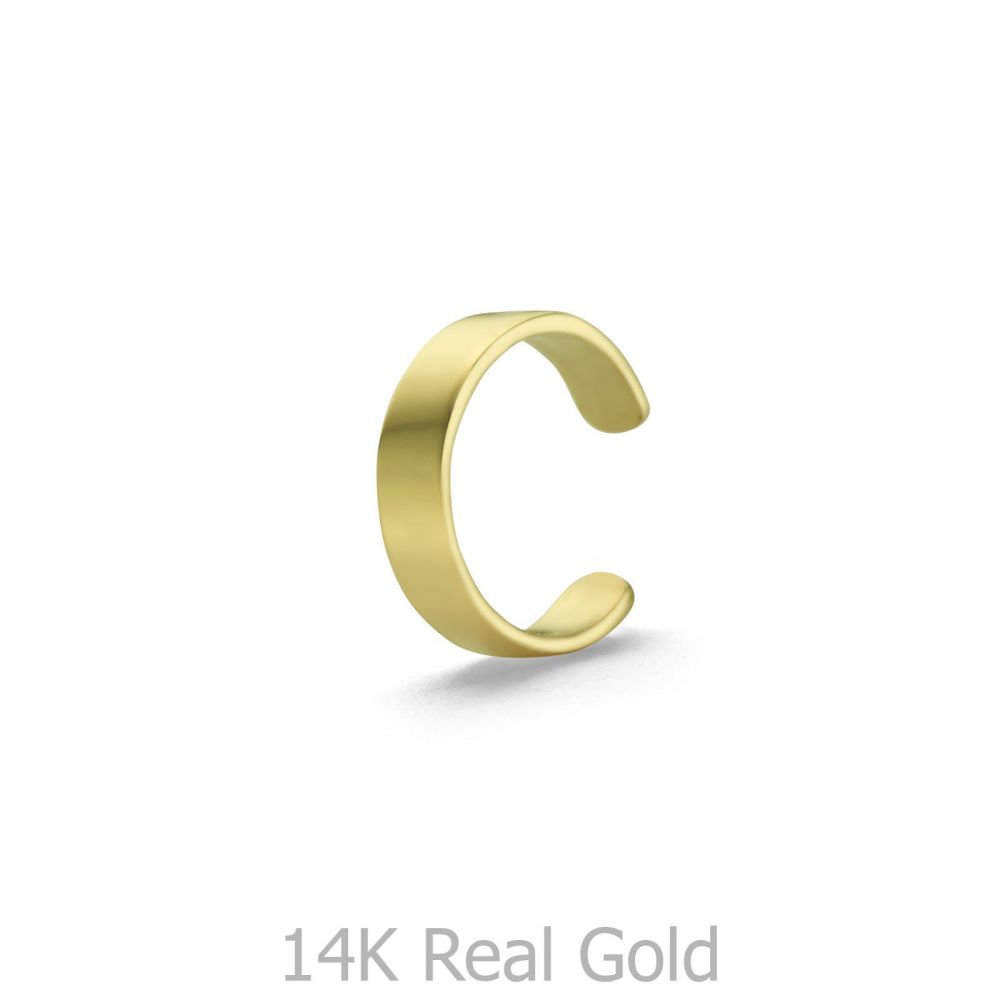 עגילי זהב   עגיל הליקס מזהב צהוב 14 קראט - הליקס צר