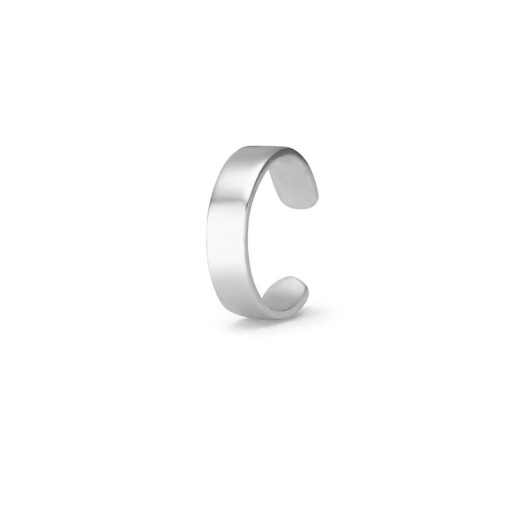 עגילי זהב | עגיל הליקס מזהב לבן 14 קראט - הליקס צר