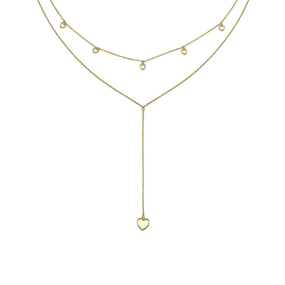 תכשיטי זהב לנשים | שרשרת ותליון מזהב צהוב 14 קראט - לב פנטזיה