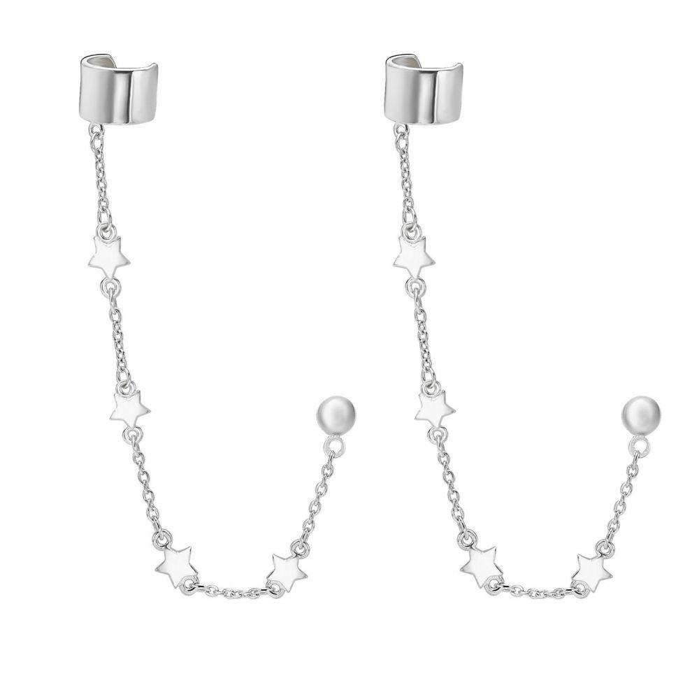 תכשיטי זהב לנשים   עגילי הליקס חובק מזהב צהוב 14 קראט - כוכבים נופלים