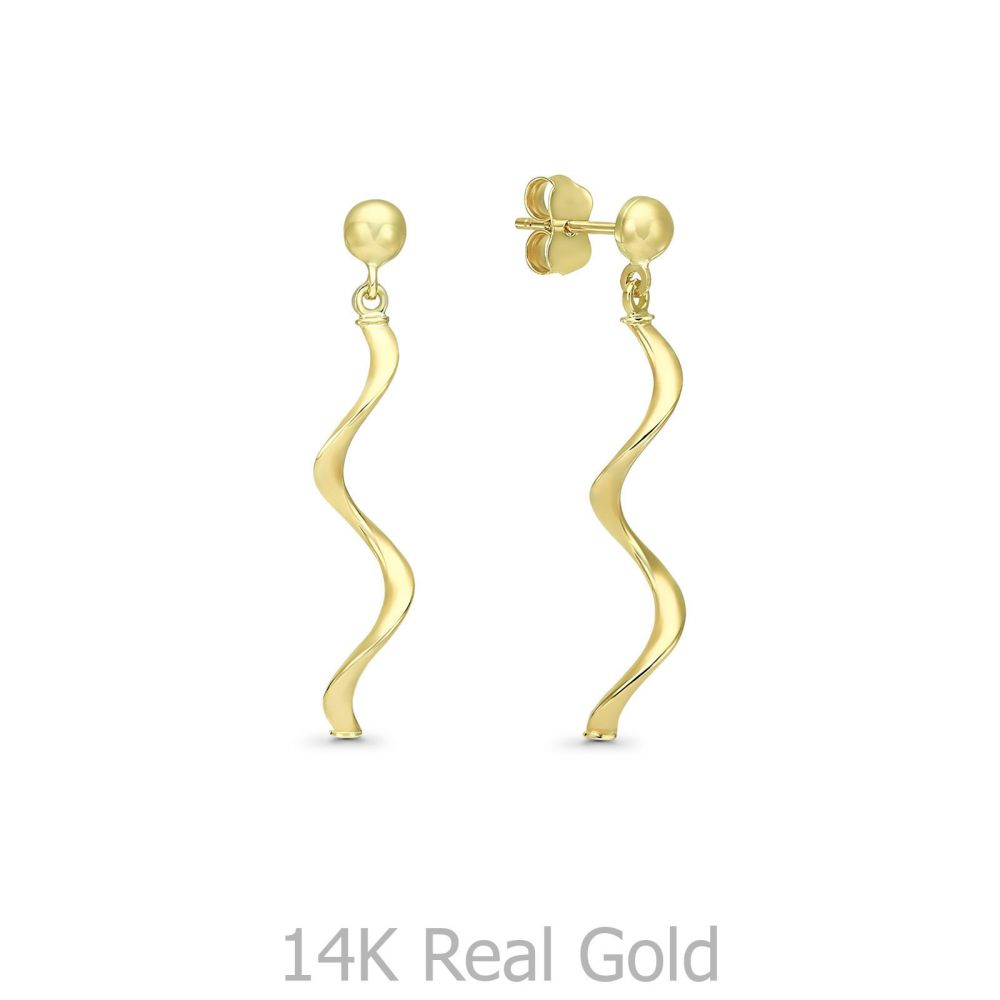 עגילי זהב | עגילים תלויים מזהב צהוב 14 קראט - טייגר לילי