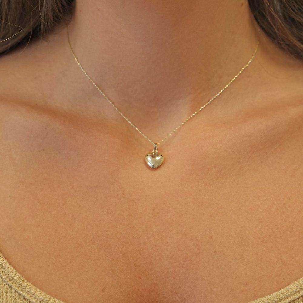 תכשיטי זהב לנשים | שרשרת ותליון מזהב צהוב 14 קראט - לב פיג'י