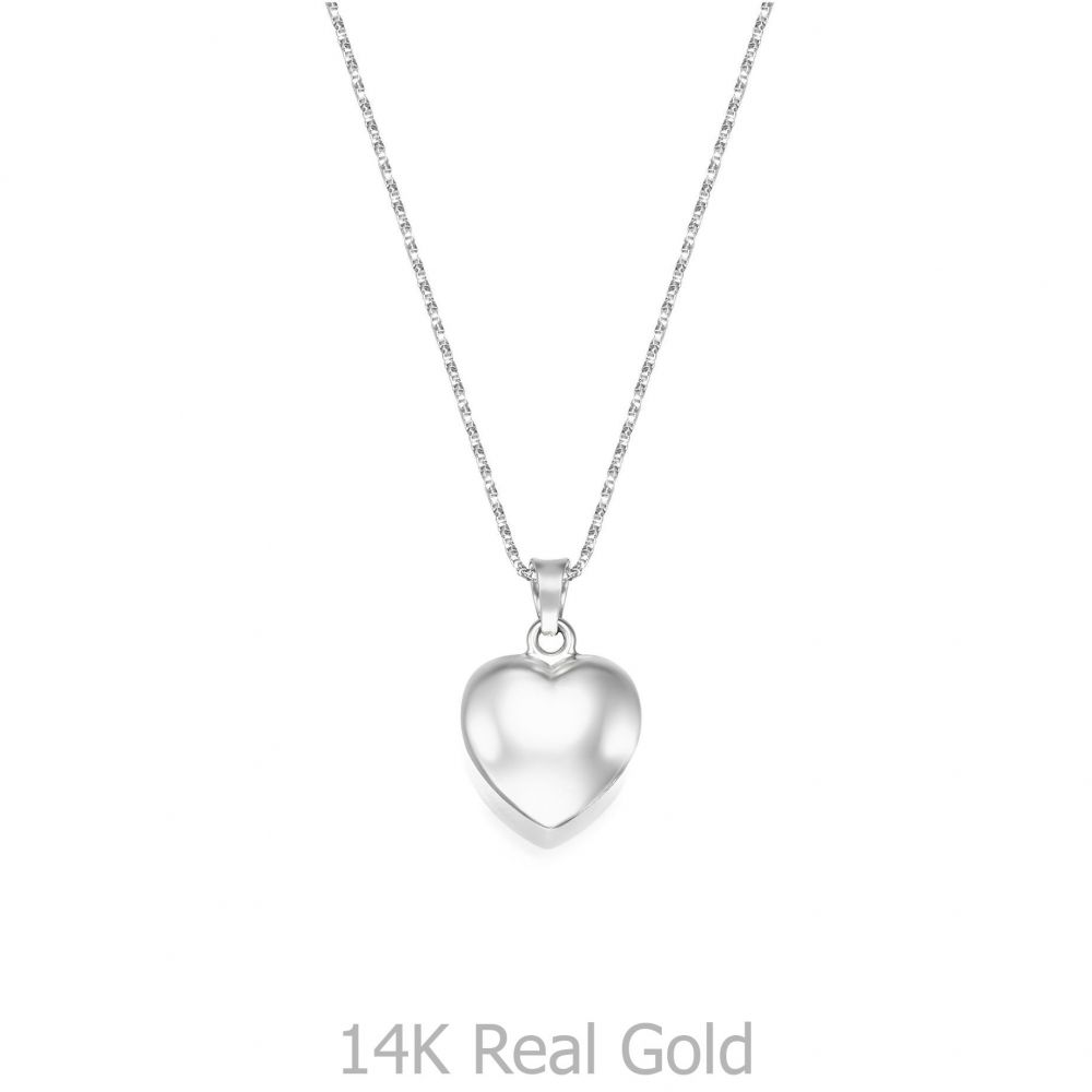 תכשיטי זהב לנשים | שרשרת ותליון מזהב לבן 14 קראט - לב פיג'י
