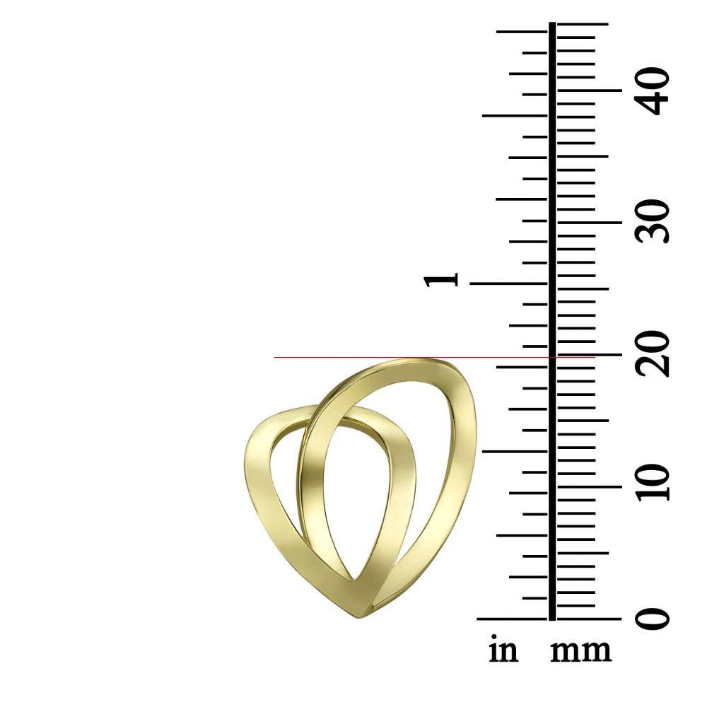 תכשיטי זהב לנשים | תליון ושרשרת מזהב צהוב 14 קראט - לב טיפה