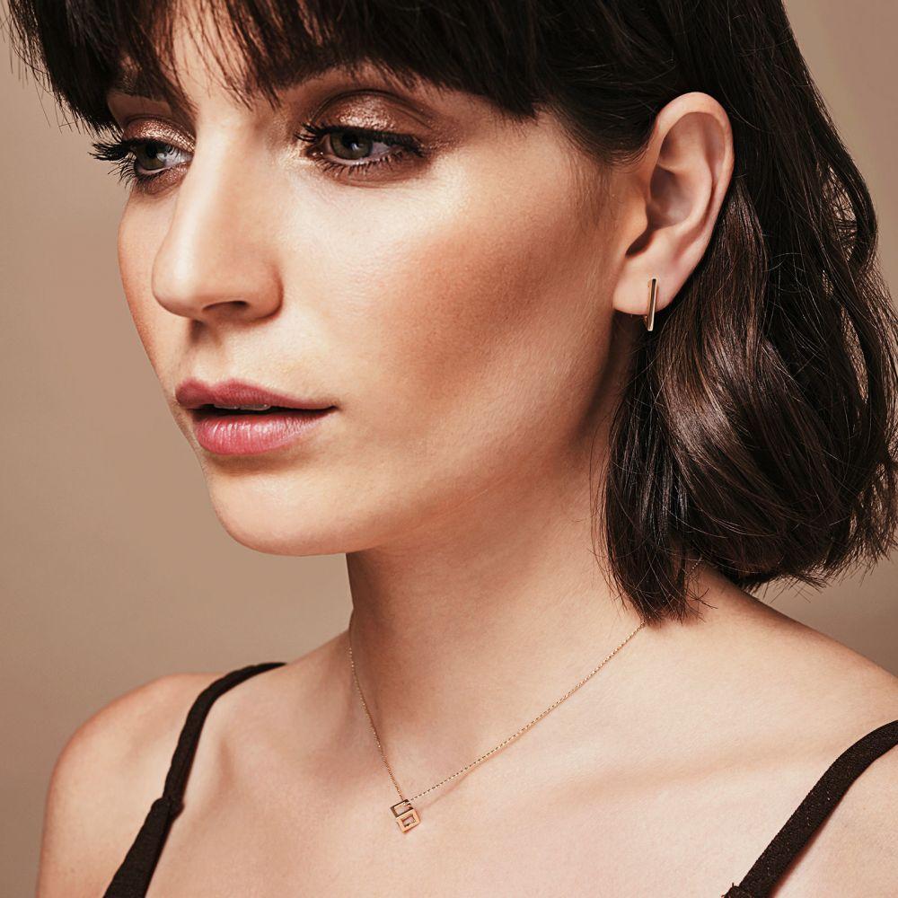 תכשיטי זהב לנשים   תליון ושרשרת מזהב צהוב 14 קראט - קוביית זהב