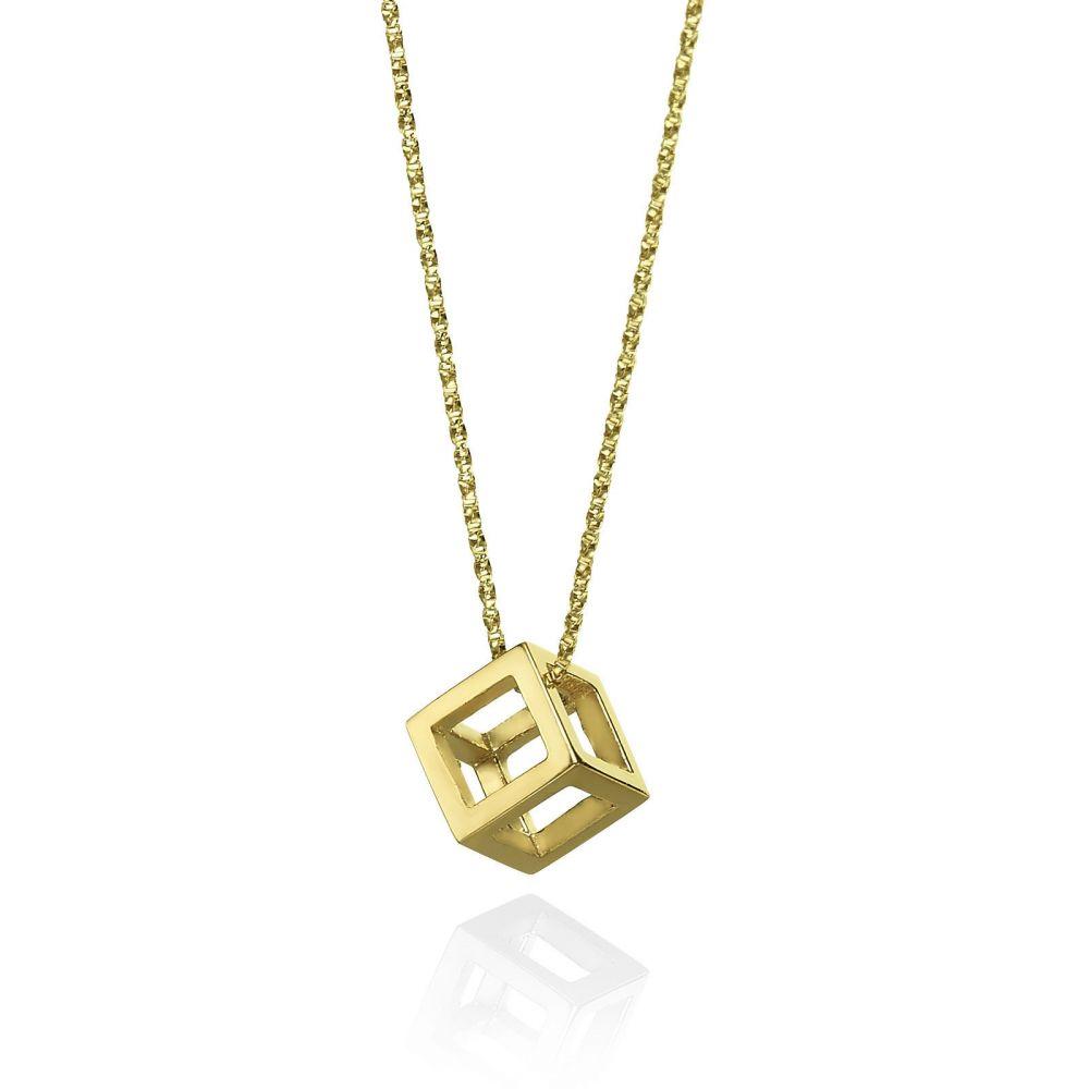 תכשיטי זהב לנשים | תליון ושרשרת מזהב צהוב 14 קראט - קוביית זהב