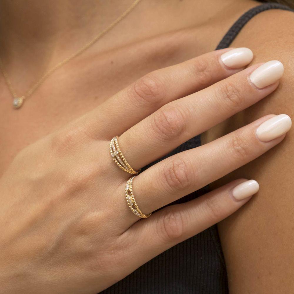 תכשיטי יהלומים | טבעת יהלום מזהב צהוב 14 קראט - קיילי