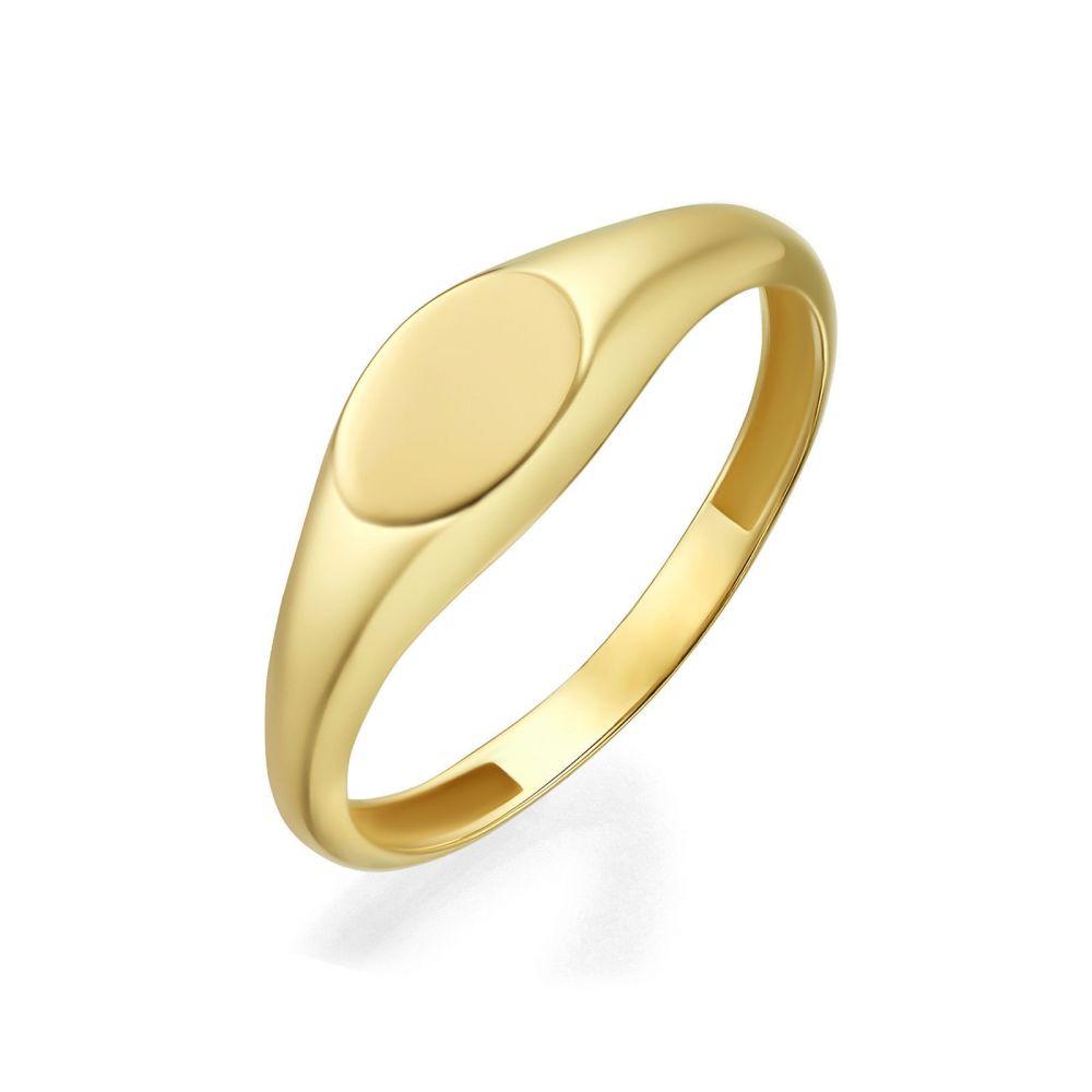 תכשיטי זהב לנשים | טבעת מזהב צהוב 14 קראט - חותם אליפסה מבריק