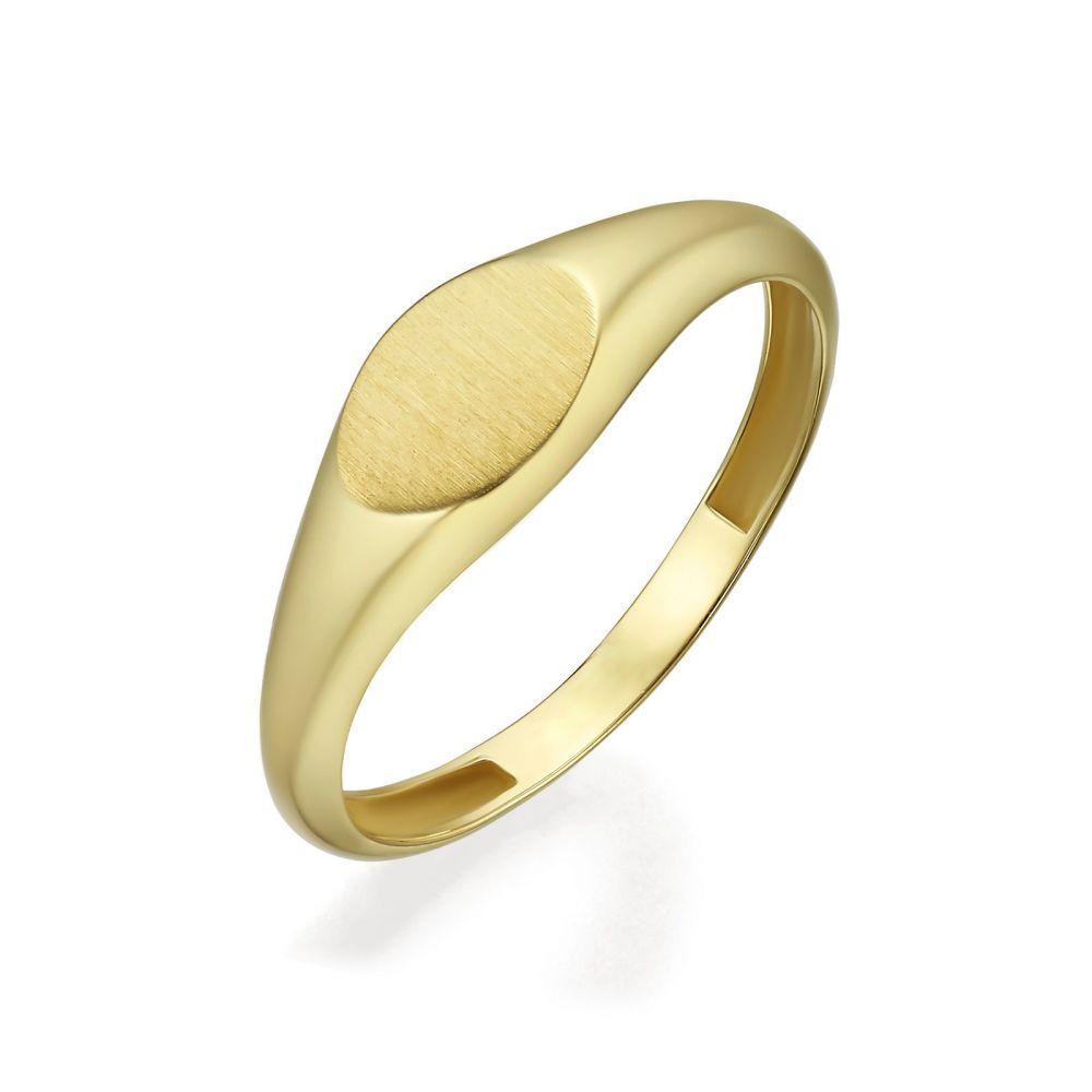 תכשיטי זהב לנשים | טבעת מזהב צהוב 14 קראט - חותם אליפסה מט