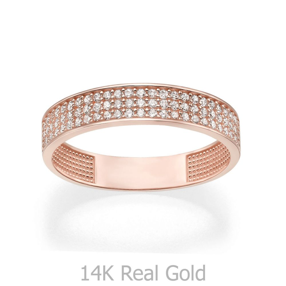 תכשיטי זהב לנשים | טבעת מזהב ורוד 14 קראט - קלייר