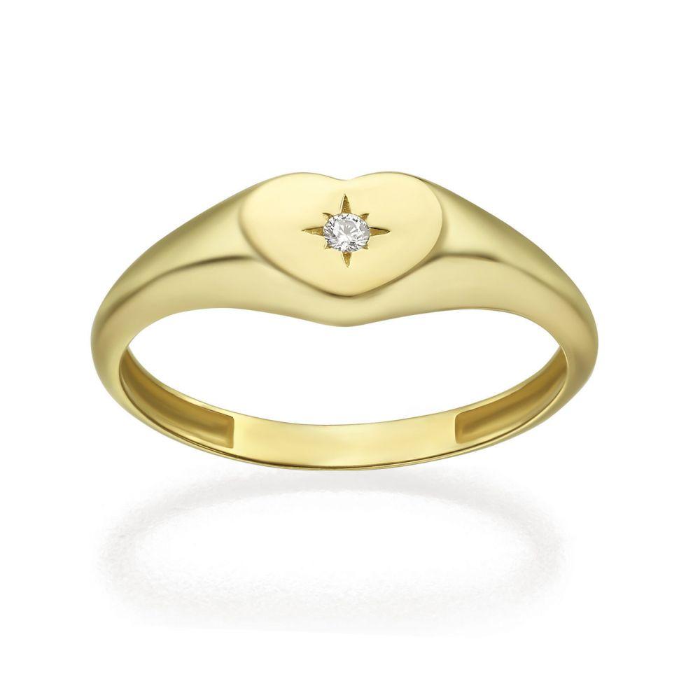 תכשיטי זהב לנשים | טבעת מזהב צהוב 14 קראט - חותם לב מנצנץ