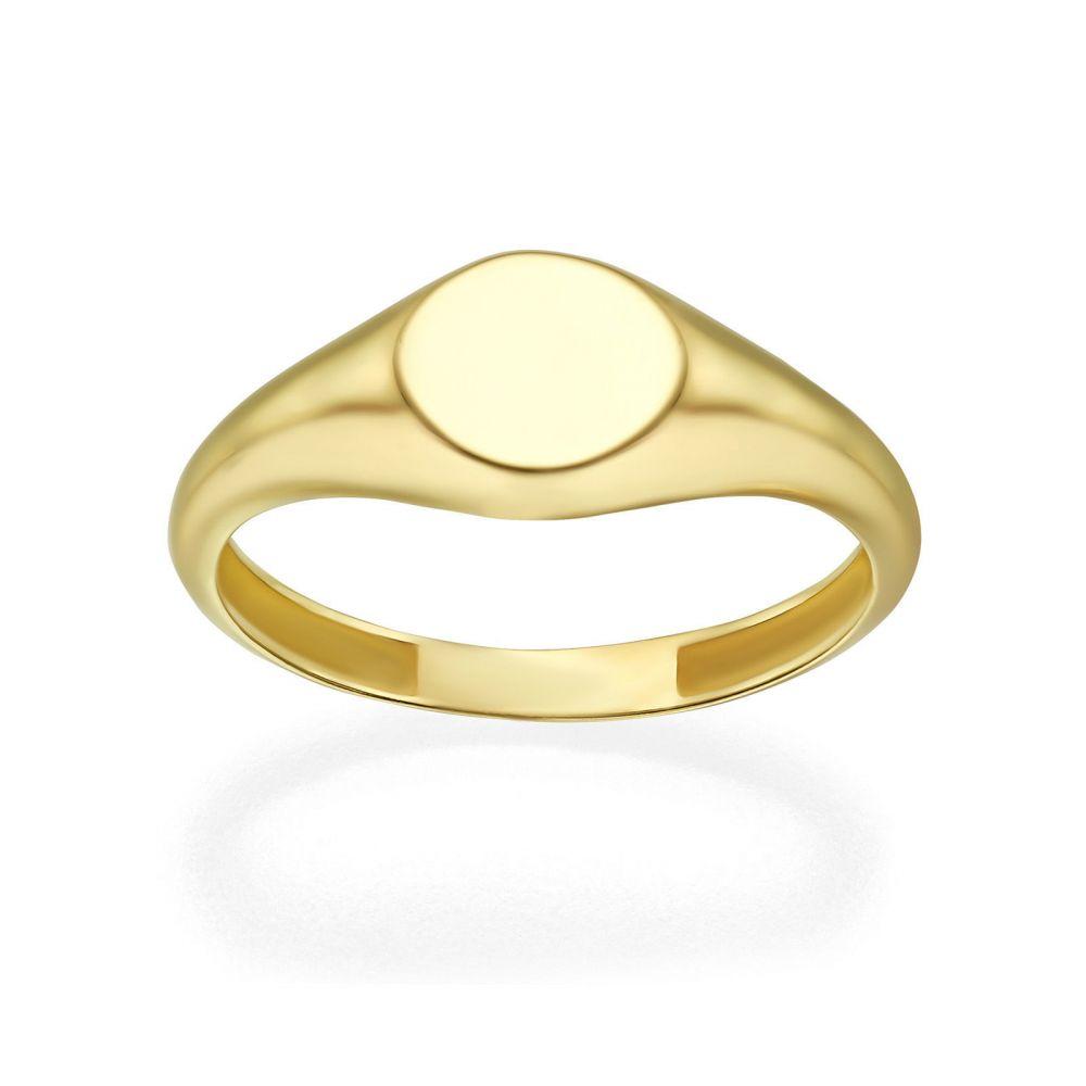 תכשיטי זהב לנשים | טבעת מזהב צהוב 14 קראט - חותם עגול מבריק