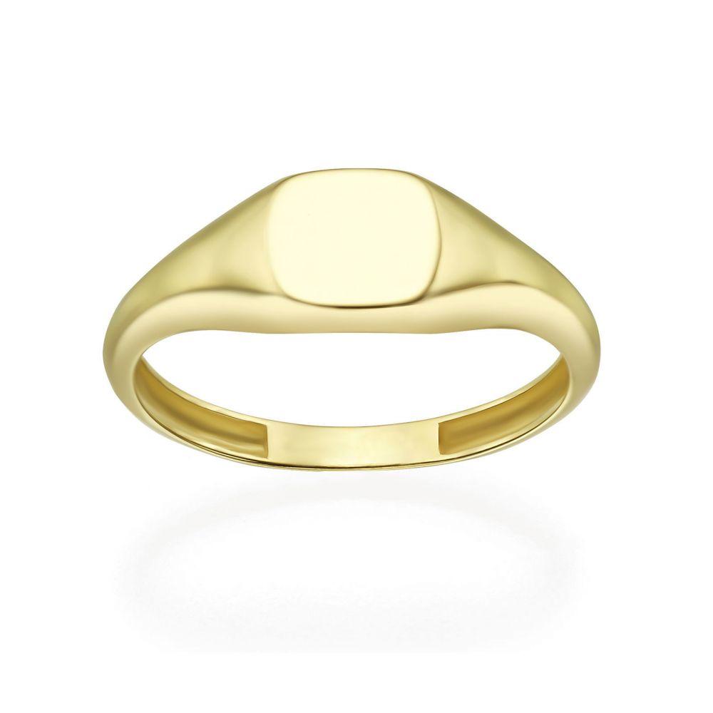תכשיטי זהב לנשים | טבעת מזהב צהוב 14 קראט - חותם ריבועי מבריק